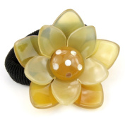 Elastic Ponytail Holder Genuine blond horn - Lotus flower and Mother-of-pearl
