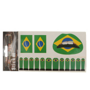 Olympic Country National Brazil Flag Temporary Tattoo Face Lip Nail Stickers Sets Party Favours