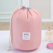 HOYOFO Barrel Shaped Travel Cosmetic Wash Bag Nylon Large Capacity Drawstring Storage,Pink