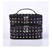 Fieans Polka Dots Double-Layer Toiletry/Cosmetic/Makeup Bag Travel Wash Organiser Case-Black