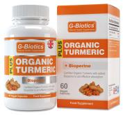 G-Biotics Certified Organic Turmeric Curcumin Capsules with added Bioperine (Black Pepper) Supplement. NOW!