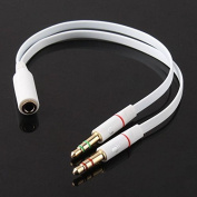 TheFlyingWhopper White 3.5mm Speaker Mic Stereo Audio Jack Y Splitter Cable 2 x Male to Female.