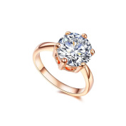 RedFly Fashion 4 Carat Round CZ Crystal 18ct Rose Gold Plated Wedding Engagement Rings