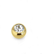 Piercing 3mm Surgical Steel Gold plated clamp ball with transparent crystal for BCR