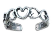 925 Sterling Silver Toe Ring. Open Hearts Design Adjustable Band. Brand New & Gift Boxed.