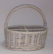 4 Section Oval Washed Willow Wicker Cutlery Divided Basket
