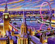 CaptainCrafts New Paint by Numbers 41cm x 50cm for Adults, Kids LINEN Canvas - Love Stole London, Ferris Wheel Purple City