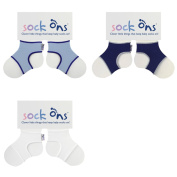 SOCK ONS 3 PAIR PACK - BABY BLUE, WHITE AND NAVY 6-12M