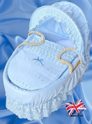Boogaloo's Baby Blue Broderie Anglaise Spare Replacement Moses Basket Dressing Covers (NO basket) UK MADE