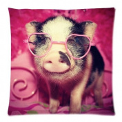 Pillowcases Vintage Little Lovely Cute Baby Pig Throw Pillow Case Sofa Bed Home Decor Cushion Cover 18*46cm (twin sides) Zippered
