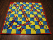 Non Slip Backing Themed Snakes and Ladders 133cm x 133cm Kids Designs Good Quality Mat/Rug