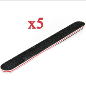 Fashion gallery 5pcs Double Sided Nail Files Emery Board Grit Black Gel Cosmetic Manicure Pedicure