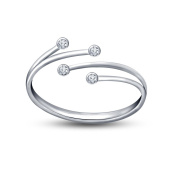 Vorra Fashion 925 Sterling Silver Round Cut Cubic Zirconia Platinum Plated Bypass Adjustable Toe Ring