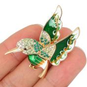 EVER FAITH® Austrian Crystal Enamel Lovely Animal Flying Bird Brooch Gold-Tone