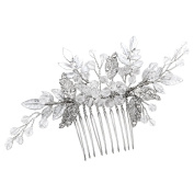 Vintage Silver Hair Combs Slides Simulated Crystal Rhinestones Leaf Women Wedding Accessories