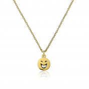 """Little Miss Twin Stars Girls """"Happy Hour"""" 14k Gold Plated LOL Emoji Necklace with Cubic Zirconia Chain Pendant Necklace, 36cm +5.1cm Extender"""
