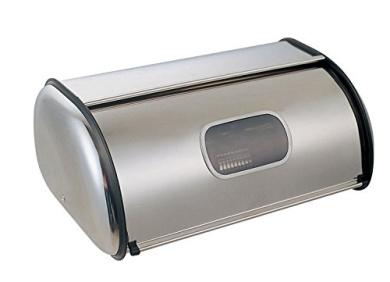 Chef Vida Kitchen Roll Top Bread Bin, Metal, Stainless Steel