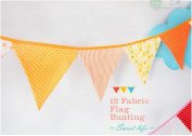 Ellen Tool Fabric Bunting Banners(Set of 12)-100% Durable Cotton-Small Size Kids Flag-Multi-Colourful Flags for Parties, Holidays, Birthdays-Great Celebration & Decoration for Indoor or Outdoor-Orange