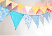 Ellen Tool Fabric Bunting Banners(Set of 12)-100% Durable Cotton-Small Size Kids Flag -Multi-Colourful Flags for Parties, Holidays, Birthdays-Great Celebration & Decoration for Indoor or Outdoor-Blue