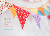 Ellen Tool Fabric Bunting Banners(Set of 12)-100% Durable Cotton-Small Size Kids Flag -Multi-Colourful Flags for Parties, Holidays, Birthdays-Great Celebration & Decoration for Indoor or Outdoor-Red