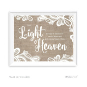 Andaz Press Burlap Lace Print Wedding Collection, Party Signs, This Light Burns to Honour Those Who are Watching Today from Heaven Memorial Candle Table Sign, 22cm x 28cm , 1-Pack