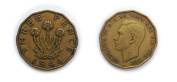 Coins for collectors - Circulated British 1944 Threepenny Bit / Three Pence 3p Coin / Great Britain