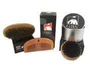 GBS 3 Pc Wood Brush Kit! Premium Oval Wooden Beard Brush with Synthetic Bristles, Wooden Beard comb, and Travel Premium Round Wooden Beard Brush with Synthetic Bristles and Travel Tin Cannister!