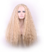AneShe 70cm Women Long Curly Fluffy Blonde Full Wigs Highlights Synthetic Hair Party Wig