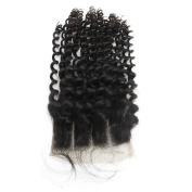 Mxangel Natural Colour 50cm Bleached Knots Closure With Baby Hair Three Part 4*4 Kinky Curly Lace Closure