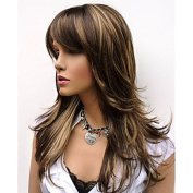 Natural Long Alice Turned Brown with Golden Highlights Layered Wig For Woman