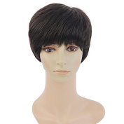Fashion 100% human hair short straight Natural Colour hair wig Girls elderly Ms.Capless wig for Women