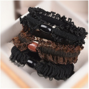 Causalfashion 2Pcs Korean Fashion Women's Elastic Lace Trim Hair Ring Rope Band Hair Ties Ponytail Holder