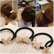 Casualfashion 5Pcs Korean Hair Accessories Butterfly Hair Ropes Rhinestone Hair Bow Hair Ties Hair Rings Accessories