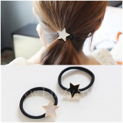 Casualfashion 2Pcs Fashion Temperament Women Girls Headdress Pentacle Hair Rings High Stretch Hair Ropes Rubber Band Ponytail Holder