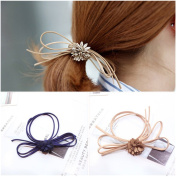 Casualfashion 6Pcs Fashion Women's Butterfly Flower Hair Rings Rope Rubber Band Ponytail Holder