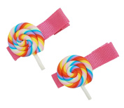 Pastel Rainbow Whirly Pop Candy Fashion Hair Clip (2PC Set) | Cute, All-Purpose Alligator Beauty Clips | Made in Korea and Hand-Assembled