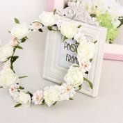 MBJERRY Wedding Crown Wreath Headband Summer Beach Photography Flower Hair Accessories
