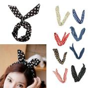 Ewandastore 8pcs Hair Tie Polka Dot Stripe Ribbon Bunny Rabbit Ear Girls Hair Band Tie Twist Bow Wire Headband Scarf Wrap