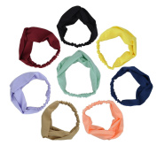 8pcs Stretchy Athletic Bandana Headbands Head wrap Yoga Headband Head Scarf Best Looking Head Band for Sports or Exercise FD02
