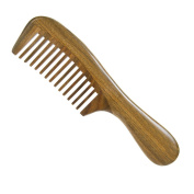 Casualfashion Vintage Natural Green Sandalwood Comb Medium Wide Teeth Hair Massage Comb with Long Handle