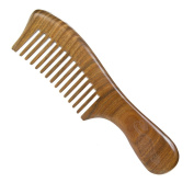 Casualfashion Anti-static Sandalwood Comb with Handle for Hair Care Medium Wide Teeth Wooden Massage Comb