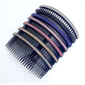 Casualfashion Women 24 Teeth Hair Comb Pin Clip Double Rows Rhinestone Hair Side Combs 12cm Length, 5-count