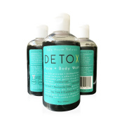 American Black Liquid Castile Soap Detox Face and Body Wash Best for Oily & Acne Prone Skin w/ Aloe - Activated Charcoal - Coconut Oil- Tea Tree + Frankincense Essential Oil - by Safe House Naturals