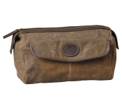 Men's Canvas & Leather Toiletry Bag by Bayfield BagsTM - Vintage Retro-Look Waxed Canvas Large Travel Tactical Toiletry Bag