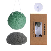 Konjac Facial Sponge Set - 2 Pack (Charcoal Black & Green tea)100% Natural Great for Sensitive, Oily & Acne Prone Skin -Best Beauty Facial Scrub for gentle deep cleaning & exfoliatio