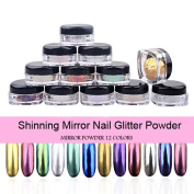 PrettyDiva 12pcs/set Mirror Nail Glitter Powder Nail Art Chrome Pigment Shinning Metallic Nail