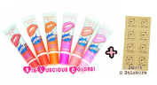"6-PACK Peel-Off Coloured Lip Stain Gloss. For You"" Kraft Sticker Label Sheet 