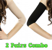 Adecco LLC 2 Pair Slimming Compression Arm Shaper Helps Tone Shape Upper Arms Sleeve