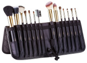Best Deal Of 2016 Tootloo® 14 Piece Professional High Quality Makeup Brush Black Set With Plush Textured Leather Standing Easel Case With A Free Blender Sponge