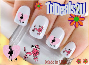 Poodle 2 I Love - WaterSlide Nail Art Decals - Highest Quality! Made in USA